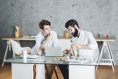 Two concentrared businessmen working on project together Stock Images