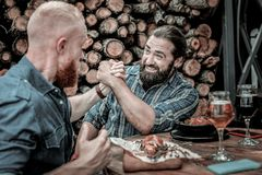 Two concentrated mature men competing in arm-wrestling. Battle beginning. Two concentrated bearded men competing in friendly arm-wrestling battle in front of a royalty free stock photo