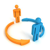 Two concept business team people with cycle arrows Royalty Free Stock Photo