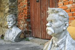 Two concrete bust in Sataniv, Ukraine. Royalty Free Stock Image
