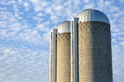 Two Concrete Stave Silos Royalty Free Stock Images