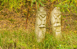 Two concrete totem poles Royalty Free Stock Photography