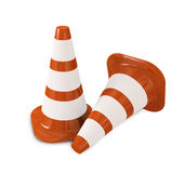 Two Cones. Two 3D cones standing on a white background Stock Images