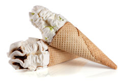 Two cones of ice creams with chocolate isolated white background Royalty Free Stock Image