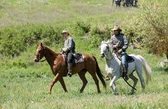Two confederate calvary reenactors. Stock Images