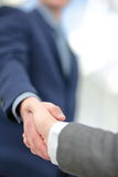 Two confident business man shaking hands during a meeting in office, success, dealing, greeting and partner concept. stock image