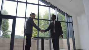 Two confident business men, African American and Caucasian shaking hands during a meeting and signing of successful stock video footage