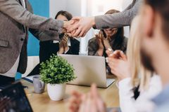 Two confident business man shaking hands during a meeting in the office, success, dealing, greeting stock photo