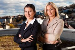 Two confident businesswomen ouside royalty free stock image