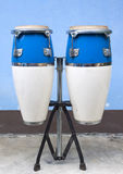 Two congas. Blue and white two congas Stock Images