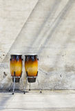 Two congas in front of a vintage wall Royalty Free Stock Image