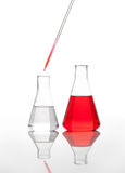 Two conical classic laboratory flasks Royalty Free Stock Images