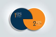 Two connected circles chart. 2 steps design, infographic, number option. 3D circle style stock illustration