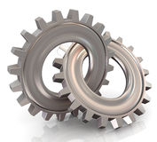 Two connected gear. 3d render of two connected chrome gears vector illustration