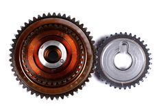 Two connected gears. Isolated over white background Royalty Free Stock Image