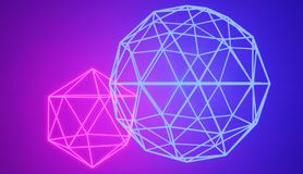 Two connected glowing neon geometric shapes. Two connected glowing neon geometric shapes, 3D rendered image. Retro style cyber neon royalty free illustration