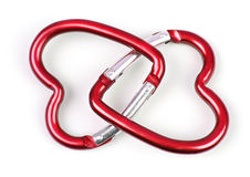Two connected heart shaped carabiner Stock Photos