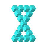 Two connected impossible triangles in turquoise blue. 3D cubes arranged as geometric optical illusion. Reutersvard Stock Images