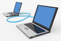 Two Connected Laptops Royalty Free Stock Images