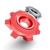 Two Connected Work Cogwheel Gears On White Background Stock Image
