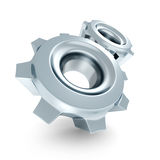 Two Connected Work Cogwheel Gears On White Background Royalty Free Stock Photos