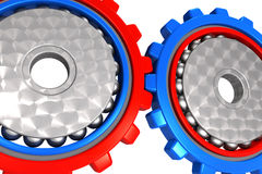 Two Connected Work Cogwheel Gears Royalty Free Stock Images