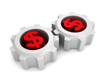 Two connected working dollar currency symbol gears Stock Photos