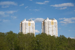 Two constructed multistory residential buildings in ecological place Stock Photography