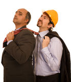 Two construction business men. Two business construction men white isolate Stock Photography