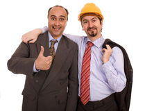 Two construction business men. Two business construction men white isolate Royalty Free Stock Photography