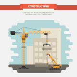 Two construction cranes. office building. flat Royalty Free Stock Photography