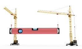 Two construction cranes raise construction level Stock Photography