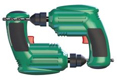 Two green drills. Two construction drills are green, with a red button. A drill is clamped in the chuck. 3D illustration Royalty Free Stock Photo