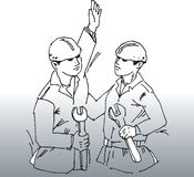 Two construction workers. Hand drawn image of 2 construction workers discussing work stock illustration