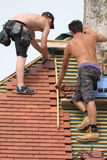 Two construction workers Stock Images