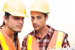 Two Construction Workers at the job Stock Photos