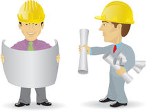 Two constructors. Are considering the drawings stock illustration
