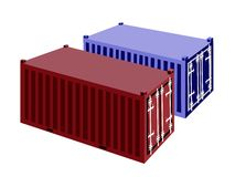 Two Container Cargo Container on White Background Royalty Free Stock Images