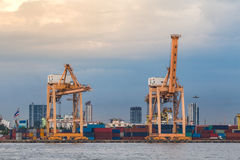 Two container cranes in Hamburg at night Royalty Free Stock Photo