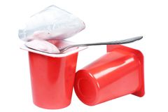 Two containers with yogurt Stock Image