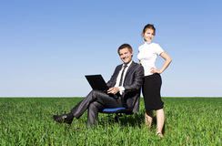 Two contemporary businesspeople at a meeting Royalty Free Stock Photos