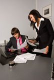 Two contemporary businesspeople at a meeting stock images