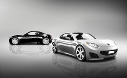 Two Contemporary Shiny Sport Cars Royalty Free Stock Photos