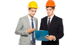 Two contractor discussing about their construction Royalty Free Stock Images