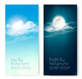 Two contrasting sky banners - Day and Night. Royalty Free Stock Photos