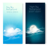 Two contrasting sky banners - Day and Night. Vector Royalty Free Stock Photos