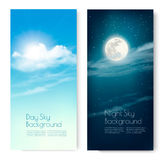 Two contrasting sky banners - Day and Night. Royalty Free Stock Photo