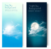 Two contrasting sky banners - Day and Night. Vector Stock Photo