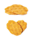Two cookie composition isolated. Two cheese cookies composition isolated over the white background, set collection of two different foreshortenings Stock Photography