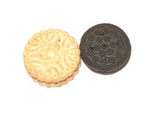 Two cookies. On white background Royalty Free Stock Photos